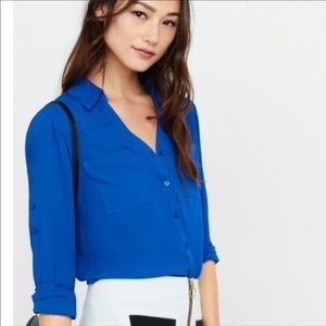 Express Button Up Blouse in Royal Blue